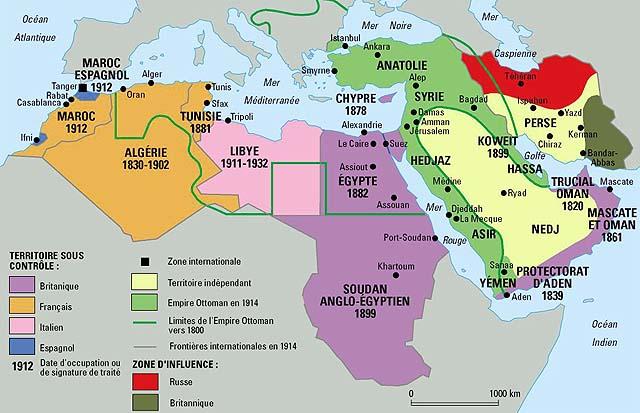 Carte Moyen Orient Palestine.Le Maghreb Et Le Proche Orient En 1914